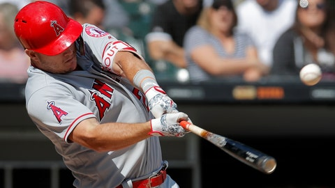 <p>               Los Angeles Angels' Mike Trout hits a single against the Chicago White Sox during the sixth inning of a baseball game Sunday, Sept. 9, 2018, in Chicago. (AP Photo/Jim Young)             </p>