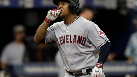 <p>               Cleveland Indians' Jose Ramirez reacts as he runs around the bases after his home run off Tampa Bay Rays starting pitcher Blake Snell during the seventh inning of a baseball game Wednesday, Sept. 12, 2018, in St. Petersburg, Fla. (AP Photo/Chris O'Meara)             </p>