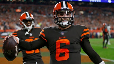 <p>               Cleveland Browns quarterback Baker Mayfield celebrates after scoring a 2-point conversion during the second half of an NFL football game against the New York Jets, Thursday, Sept. 20, 2018, in Cleveland. (AP Photo/Ron Schwane)             </p>