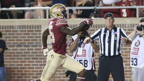 <p>               FILE - In this Saturday, Sept. 8, 2018, file photo, Florida State's Tamorrion Terry scores a touchdown after making a pass reception against Samford in the first quarter of an NCAA college football game in Tallahassee Fla. Florida State coaches have been searching for a young receiver to emerge and provide a downfield threat. Terry, a 6-foot-4 freshman, has done just that, hauling in two touchdown passes and earning praise for his blocking. (AP Photo/Steve Cannon, File)             </p>
