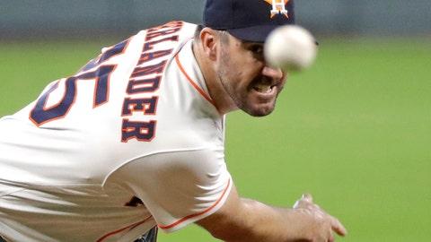 <p>               Houston Astros starting pitcher Justin Verlander throws against the Arizona Diamondbacks during the first inning of baseball game Sunday, Sept. 16, 2018, in Houston. (AP Photo/David J. Phillip)             </p>