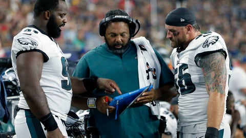 <p>               FILE - In this Aug. 16, 2018, file photo, Philadelphia Eagles defensive line coach Chris Wilson, center, confers on the sideline with defensive ends Fletcher Cox, left, and Chris Long, right, during the first half of a preseason NFL football game against the New England Patriots in Foxborough, Mass. The Eagles have so much depth on their defensive line they rotate seven players and keep them fresh for the fourth quarter. (AP Photo/Mary Schwalm, File)             </p>
