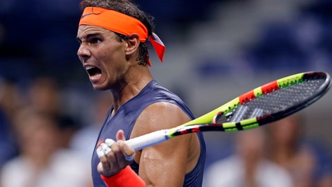 <p>               Rafael Nadal, of Spain, watches a shot during a match with Dominic Thiem, of Austria, during the quarterfinals of the U.S. Open tennis tournament, early Wednesday, Sept. 5, 2018, in New York. (AP Photo/Adam Hunger)             </p>