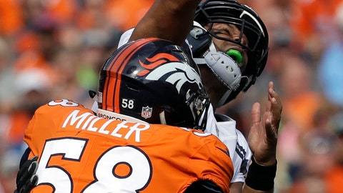 <p>               Seattle Seahawks quarterback Russell Wilson, above, loses the ball as he is hit by Denver Broncos linebacker Von Miller (58) during the first half of an NFL football game Sunday, Sept. 9, 2018, in Denver. The Seahawks recovered the ball on the play. (AP Photo/Jack Dempsey)             </p>