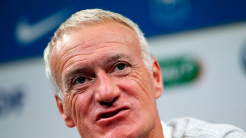 <p>               France's soccer team coach Didier Deschamps attends a press conference at the Clairefontaine training center, outside Paris, Monday, Sept. 3, 2018. France will play against Germany during their Nations League soccer game on Sept. 6. (AP Photo/Christophe Ena)             </p>