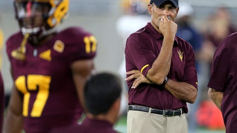 <p>               FILE - In this Sept. 1, 2018, file photo, Arizona State coach Herm Edwards watches his team warm up for an NCAA college football game against UTSA in Tempe, Ariz. Arizona State rolled over a smaller-conference school in their opener, scoring two quick touchdowns on the way to a 49-7 win over UTSA in Edwards' debut as coach. Arizona State plays Michigan State on Saturday night. (AP Photo/Ralph Freso, File)             </p>
