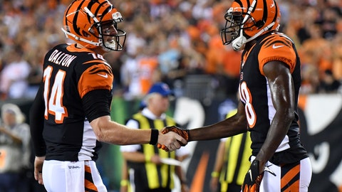 <p>               Cincinnati Bengals wide receiver A.J. Green, right, celebrates with quarterback Andy Dalton (14) after scoring a touchdown in the first half of an NFL football game, Thursday, Sept. 13, 2018, in Cincinnati. (AP Photo/Bryan Woolston)             </p>