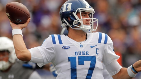 <p>               Duke's Daniel Jones makes a pass against Northwestern during the first half of an NCAA college football game Saturday, Sept. 8, 2018, in Evanston, Ill. (AP Photo/Jim Young)             </p>