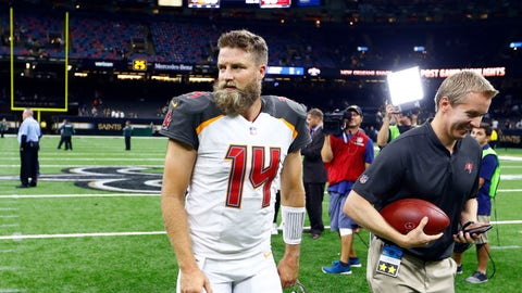 <p>               Tampa Bay Buccaneers quarterback Ryan Fitzpatrick (14) walks off the field after defeating the New Orleans Saints in an NFL football game in New Orleans, Sunday, Sept. 9, 2018. The Buccaneers won 48-40. (AP Photo/Butch Dill)             </p>