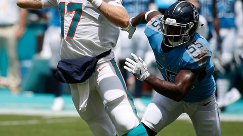 <p>               Miami Dolphins quarterback Ryan Tannehill (17) looks to pass as he pursued by Tennessee Titans linebacker Jayon Brown (55), during the first half of an NFL football game, Sunday, Sept. 9, 2018, in Miami Gardens, Fla. (AP Photo/Wilfredo Lee)             </p>