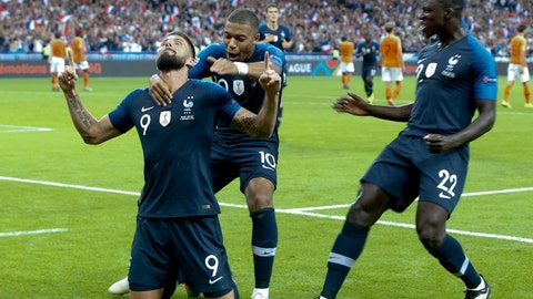 <p>               Olivier Giroud of France.left, celebrates with teammates after scoring his sides 2nd goal during the UEFA Nations League soccer match between France and the Netherlands at the Stade De France in Paris, Sunday, Sept. 9, 2018. (AP Photo/Thibault Camus)             </p>