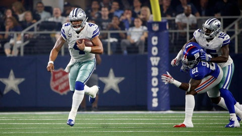 <p>               Dallas Cowboys quarterback Dak Prescott (4) scrambles for yards against the New York Giants during the first half of an NFL football game in Arlington, Texas, Sunday, Sept. 16, 2018. (AP Photo/Ron Jenkins)             </p>