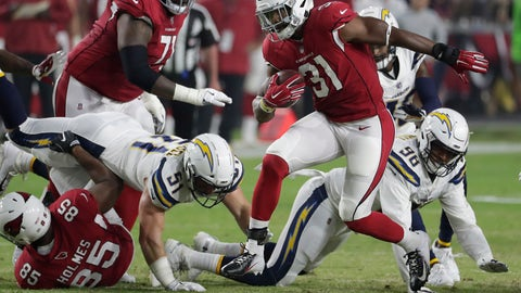 <p>               FILE - In this Aug. 11, 2018, file photo, Arizona Cardinals running back David Johnson (31) breaks free against the Los Angeles Chargers during the first half of a preseason NFL football game, in Glendale, Ariz. Arizona's Sam Bradford is especially anxious to get back on the field, since he is coming back from yet another significant left knee injury. The offense he directs will center around the multi-talented Johnson, who returns after fracturing his left wrist in the season opener. (AP Photo/Rick Scuteri, File)             </p>