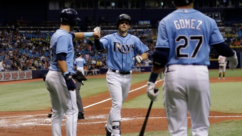 <p>               Tampa Bay Rays' Brandon Lowe, center, high-fives Kevin Kiermaier, left, and Carlos Gomez, right, after his three-run home run off Baltimore Orioles relief pitcher Josh Rogers during the first inning of a baseball game Sunday, Sept. 9, 2018, in St. Petersburg, Fla. (AP Photo/Chris O'Meara)             </p>