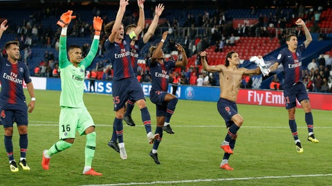<p>               PSG players celebrate their 4-0 win after their French League One soccer match between Paris-Saint-Germain and Saint-Etienne at the Parc des Princes stadium in Paris, Friday, Sept. 14, 2018. (AP Photo/Michel Euler)             </p>