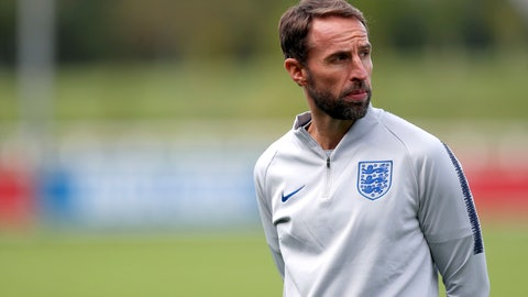 <p>               England manager Gareth Southgate attends a training session at St Georges' Park, Burton, England, Friday, Sept. 7, 2018. The England squad has gathered ahead of international matches against Spain and Switzerland and it's a chance for players to reminisce about their journey to the World Cup semifinals in a summer when the English fell back in love with their national soccer team. (David Davies/PA via AP)             </p>