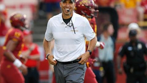 <p>               Iowa State head coach Matt Campbell smiles as he runs warm ups before an NCAA college football game against South Dakota State, Saturday, Sept. 1, 2018, in Ames, Iowa. (AP Photo/Matthew Putney)             </p>