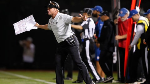 <p>               Oakland Raiders head coach Jon Gruden gestures on the sidelines during the second half of an NFL football game against the Los Angeles Rams in Oakland, Calif., Monday, Sept. 10, 2018. (AP Photo/John Hefti)             </p>