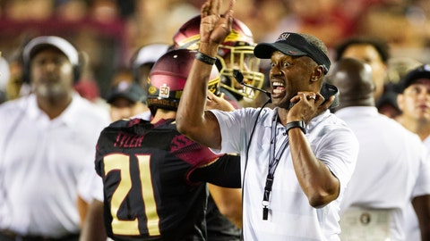 <p>               FILE - In this Sept. 3, 2018, file photo, Florida State head coach Willie Taggart directs his team in the second half against Virginia Tech in an NCAA college football game in Tallahassee, Fla. Florida State looks to build confidence in its struggling offensive line when the Seminoles take on Samford this weekend. The Seminoles struggled in their season-opening loss to Virginia Tech, allowing five sacks and after not able to establish a running game fell out of the Top 25. It was not the kind of start first-year coach Willie Taggart had hoped for. (AP Photo/Mark Wallheiser, File)             </p>