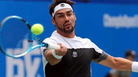 <p>               Fabio Fognini of Italy hits a return shot against Taylor Fritz of the United States during their semifinal match in the ATP 250 Chengdu Open tennis tournament in Chengdu in southwestern China's Sichuan province, Saturday, Sept. 29, 2018. Fognini beat Fritz, 2-1. (Chinatopix via AP)             </p>