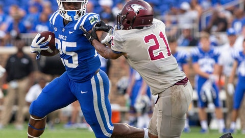<p>               Duke's Deon Jackson (25) shoves away North Carolina Central's Daryl Smith (21)during the second half of an NCAA college football game in Durham, N.C., Saturday, Sept. 22, 2018. Duke defeated North Carolina Central 55-13. (AP Photo/Ben McKeown)             </p>