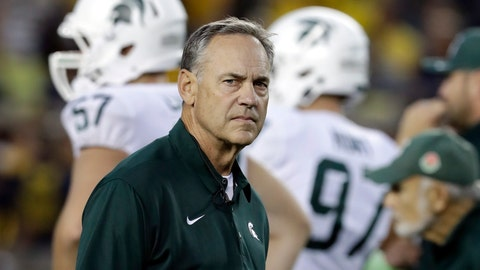 <p>               FILE - In this Oct. 7, 2017, file photo, Michigan State head coach Mark Dantonio watches warmups before an NCAA college football game against Michigan in Ann Arbor, Mich. After starting Big Ten play with a win over Indiana, No. 21 Michigan State takes a break from the conference schedule for a matchup with Central Michigan. Dantonio isn't exactly thrilled about it. The Spartans are huge favorites against CMU on Saturday, Sept. 29, 2018, but any game between in-state opponents comes with some intrigue. (AP Photo/Carlos Osorio, File)             </p>