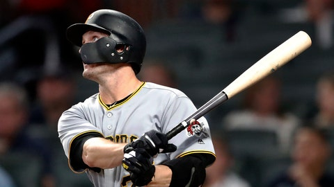 <p>               Pittsburgh Pirates' David Freese (23) watches his RBI single during the sixth inning of a baseball game against the Atlanta Braves on Friday, Aug. 31, 2018, in Atlanta. (AP Photo/John Bazemore)             </p>