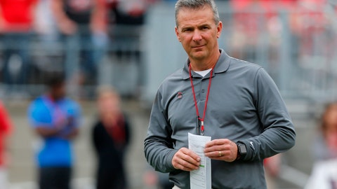<p>               FILE- In this April 14, 2018, file photo, Ohio State head coach Urban Meyer watches during the team's spring NCAA college football game in Columbus, Ohio. Meyer will be back on the Ohio State sideline Saturday against Tulane after serving a three-game suspension. He was forced to sit out after the university determined he mismanaged the behavior of former assistant Zach Smith. (AP Photo/Jay LaPrete, File)             </p>