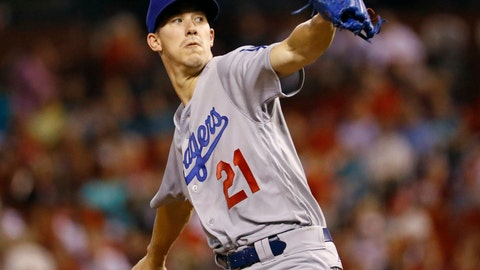 <p>               Los Angeles Dodgers starting pitcher Walker Buehler throws during the first inning of a baseball game against the St. Louis Cardinals Friday, Sept. 14, 2018, in St. Louis. (AP Photo/Billy Hurst)             </p>