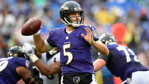 <p>               Baltimore Ravens quarterback Joe Flacco  prepares to throw to a receiver in the first half of an NFL football game against the Denver Broncos, Sunday, Sept. 23, 2018, in Baltimore. (AP Photo/Nick Wass)             </p>