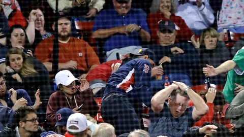 <p>               Fans react after getting hit by a bat, which flew over the protective screening, after Toronto Blue Jays's Devon Travis lost his grip on a swing during the eighth inning of a baseball game against the Boston Red Sox at Fenway Park in Boston, Wednesday, Sept. 12, 2018. (AP Photo/Charles Krupa)             </p>