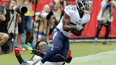 <p>               Tennessee Titans cornerback Adoree' Jackson (25) intercepts a pass intended for Houston Texans wide receiver DeAndre Hopkins, on the ground, in the end zone during the first half of an NFL football game Sunday, Sept. 16, 2018, in Nashville, Tenn. (AP Photo/Mark Zaleski)             </p>