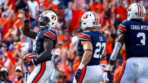 <p>               Auburn running back JaTarvious Whitlow (28) celebrates after scoring a touchdown during the first half of an NCAA college football game against LSU, Saturday, Sept. 15, 2018, in Auburn, Ala. (AP Photo/Butch Dill)             </p>