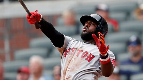 <p>               Boston Red Sox Brandon Phillips follows through on a game-winning two-run home run in the ninth inning of baseball game against the Atlanta Braves Wednesday, Sept. 5, 2018, in Atlanta. Boston won 9-8. (AP Photo/John Bazemore)             </p>