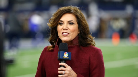 <p>               In this Nov. 19, 2017, file photo NBC sideline reporter Michele Tafoya reports before an NFL football game between the Philadelphia Eagles and Dallas Cowboys in Arlington, Texas. Tafoya will work her 250th NFL game as a sideline reported on Sunday night at AT&T Stadium when the Cowboys host the Giants. That's one of the favorite venues for Tafoya, who also has done games for ABC and ESPN and now is with NBC. (AP Photo/Ron Jenkins, File)             </p>