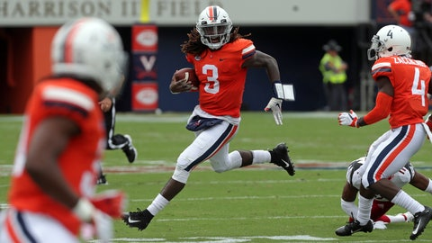 <p>               Virginia quarterback Bryce Perkins (3) runs with the ball against Louisville during the first half of an NCAA college football game Saturday, Sept. 22, 2018, in Charlottesville, Va. (Andrew Shurtleff/The Daily Progress via AP)             </p>
