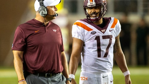 <p>               FILE - In this Sept. 3, 2018, file photo, Virginia Tech head coach Justin Fuente and quarterback Josh Jackson (17) talk in the second half of an NCAA college football game against Florida State, in Tallahassee, Fla. Virginia Tech's season got off to a very strong start with a decisive victory against Florida State in Tallahassee, Florida. The Hokies (1-0) open their home season on Saturday against William & Mary (1-0). (AP Photo/Mark Wallheiser, File)             </p>