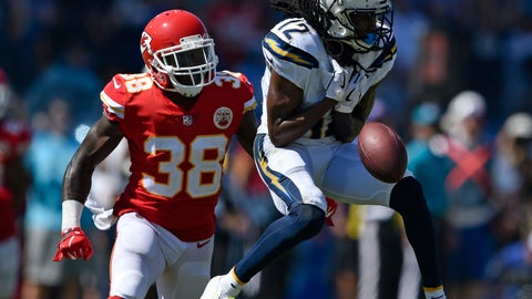 <p>               Los Angeles Chargers wide receiver Travis Benjamin, right, drops a pass under pressure form Kansas City Chiefs defensive back Ron Parker during the first half of an NFL football game Sunday, Sept. 9, 2018, in Carson, Calif. (AP Photo/Kelvin Kuo)             </p>