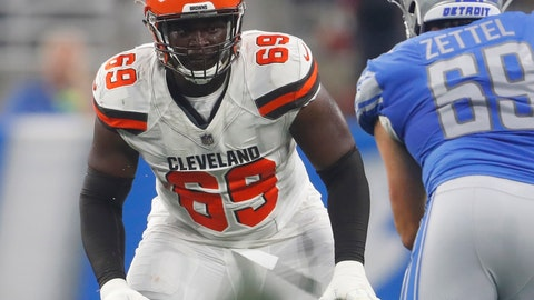 <p>               FILE - In this Aug. 30, 2018, file photo, Cleveland Browns offensive tackle Desmond Harrison (69) defends the line as Detroit Lions defensive end Anthony Zettel (69) rushes during the first half of an NFL football preseason game, in Detroit. Browns undrafted rookie Desmond Harrison will start at left tackle in Sunday's opener, filling the spot once held by future Hall of Famer Joe Thomas. (AP Photo/Paul Sancya, File)             </p>
