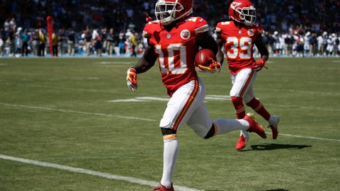 <p>               Kansas City Chiefs wide receiver Tyreek Hill (10) scores against the Los Angeles Chargers during the first half of an NFL football game Sunday, Sept. 9, 2018, in Carson, Calif. (AP Photo/Jae C. Hong)             </p>