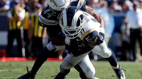 <p>               Los Angeles Rams wide receiver Robert Woods scores in front of Los Angeles Chargers linebacker Kyzir White during the second half in an NFL football game Sunday, Sept. 23, 2018, in Los Angeles. (AP Photo/Jae C. Hong)             </p>