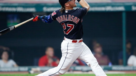<p>               Cleveland Indians' Josh Donaldson hits a solo home run off Detroit Tigers starting pitcher Matthew Boyd during the sixth inning of a baseball game, Friday, Sept. 14, 2018, in Cleveland. (AP Photo/Ron Schwane)             </p>
