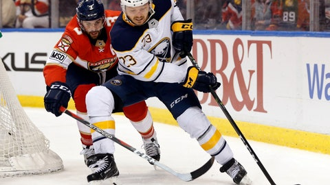 <p>               FILE - In this March 2, 2018, file photo, Buffalo Sabres center Sam Reinhart (23) battles for the puck with Florida Panthers defenseman Keith Yandle (3) during the first period of an NHL hockey game in Sunrise, Fla.  Reinhart to a two-year contract worth $7.3 million, the Sabres announced Wednesday, Sept. 19, 2018. Reinhart was a restricted free agent and missed the first five days of training camp, and two preseason games. (AP Photo/Wilfredo Lee, File)             </p>