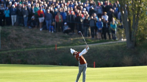 <p>               Europe's Tommy Fleetwood plays from the fairway to the 1st green during a fourball match on the second day of the 42nd Ryder Cup at Le Golf National in Saint-Quentin-en-Yvelines, outside Paris, France, Saturday, Sept. 29, 2018. (AP Photo/Alastair Grant)             </p>