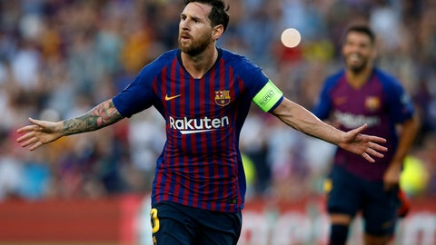 <p>               Barcelona forward Lionel Messi celebrates after scoring the opening goal of his team during the group B Champions League soccer match between FC Barcelona and PSV Eindhoven at the Camp Nou stadium in Barcelona, Spain, Tuesday, Sept. 18, 2018. (AP Photo/Manu Fernandez)             </p>