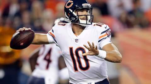 <p>               FILE - In this Aug. 18, 2018, file photo, Chicago Bears quarterback Mitchell Trubisky (10) throws against the Denver Broncos during the first half of a preseason NFL football game, in Denver. The Bears are banking on more from Trubisky after loading up in the offseason around the No. 2 overall pick in last year's draft. (AP Photo/Jack Dempsey, File)             </p>
