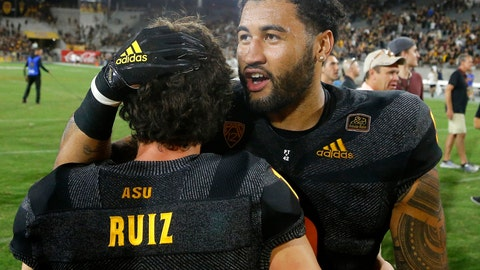 <p>               Arizona State place kicker Brandon Ruiz (1) celebrates his game-winning field goal against Michigan State with Arizona State linebacker Jay Jay Wilson, right, after an NCAA college football game Saturday, Sept. 8, 2018, in Tempe, Ariz. Arizona State defeated Michigan State 16-13. (AP Photo/Ross D. Franklin)             </p>