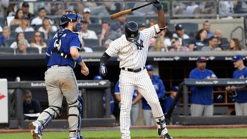 "<p>               FILE - In this Saturday, Sept. 15, 2018 file photo, New York Yankees' Andrew McCutchen reacts after striking out to end the seventh inning of a baseball game as Toronto Blue Jays catcher Danny Jansen, left, heads off the field at Yankee Stadium in New York. The most-heard sound at major league ballparks this year was ""Strike three!"" Strikeouts will exceed hits over a full season for the first time in major league history. (AP Photo/Bill Kostroun, File)             </p>"