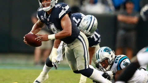 <p>               FILE- In this Sunday, Sept. 9, 2018, file photo, Dallas Cowboys' Dak Prescott (4) is sacked by Carolina Panthers' Wes Horton (96) during the second half of an NFL football game in Charlotte, N.C. It's no secret that Prescott and his revamped group of Dallas receivers hold the key to creating consistent running room for Ezekiel Elliott. The formula needs improvement with the Cowboys trying to avoid their first 0-2 start under Jason Garrett.  (AP Photo/Jason E. Miczek, File)             </p>