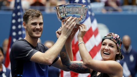<p>               Jamie Murray, of Great Britain, and Bethanie Mattek-Sands hold the trophy after defeating Alicja Rosolska, of Poland, and Nikola Mektic, of Croatia, in the mixed doubles finals of the U.S. Open tennis tournament, Saturday, Sept. 8, 2018, in New York. (AP Photo/Darron Cummings)             </p>